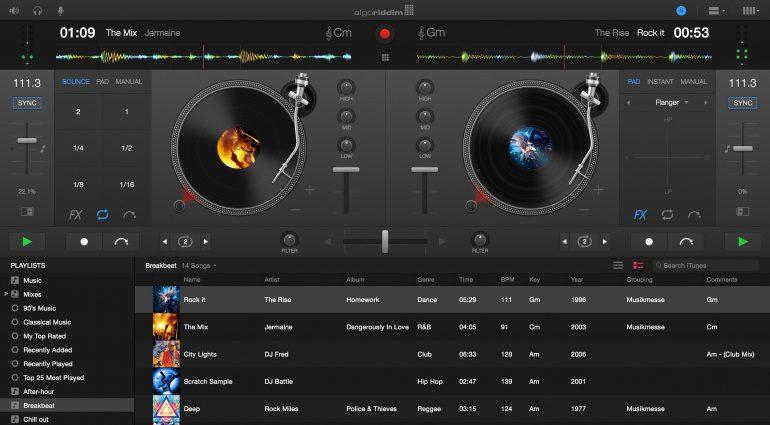 Algoriddim Djay Pro für Mac Turntable View