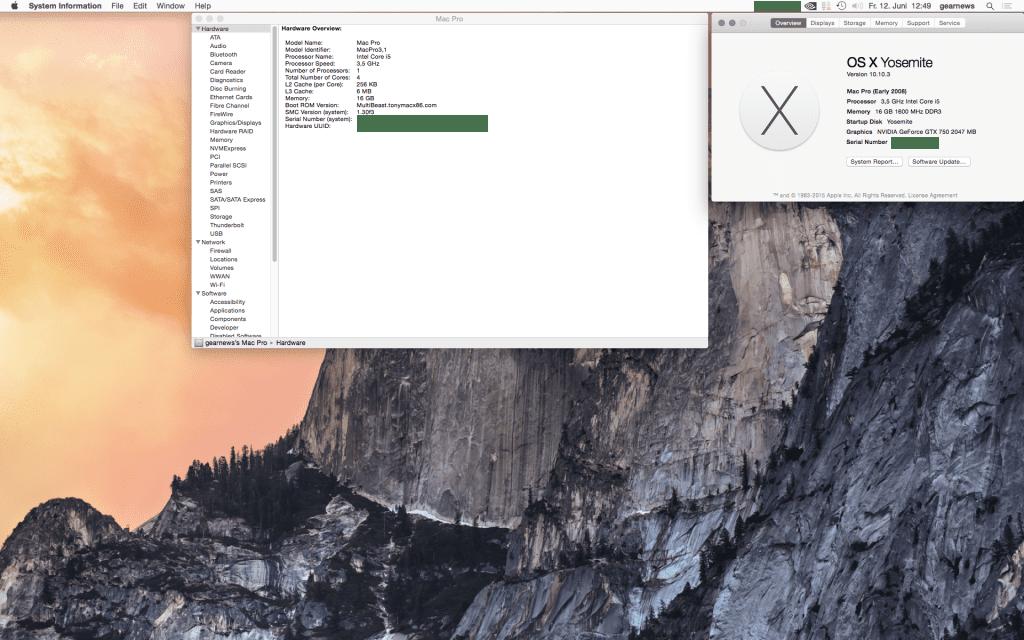 Der Beweis - mein Selbstbau PC wird als Mac Pro 3.1 anerkannt.