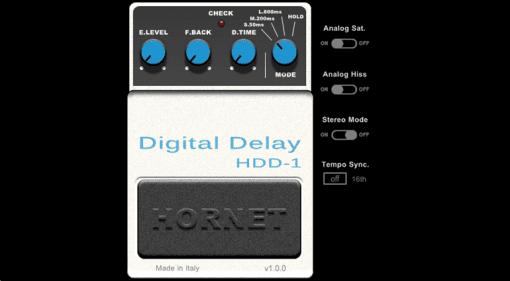 Hornet Plugin HDD-1 Digital Delay Boss DD-1 GUI
