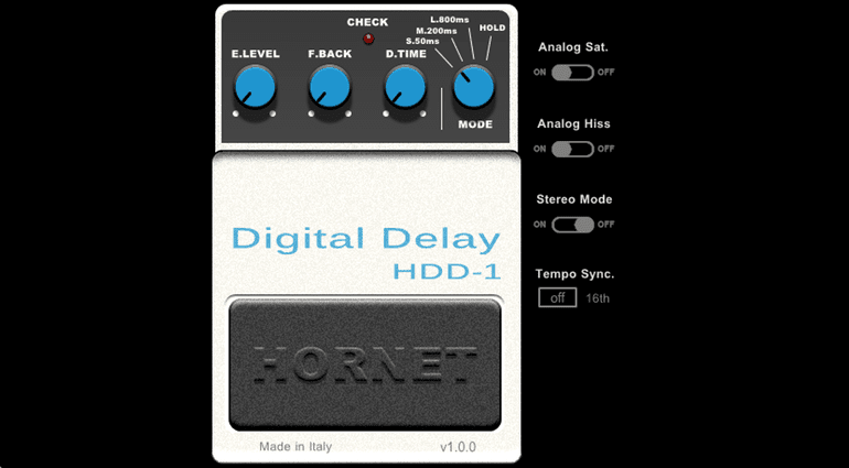 Hornet Plugin HDD-1 Digital Delay Boss DD-1 GUI