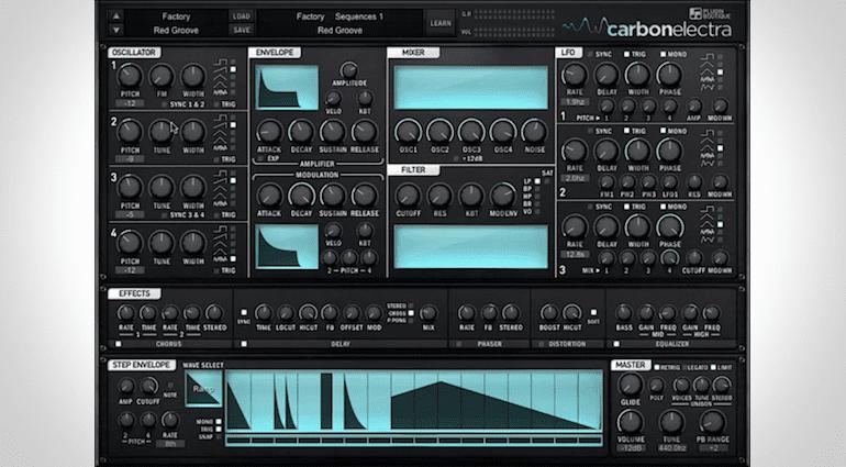 pluginboutique.com Carbon Electra, übersichtliches GUI des Soft-Synths