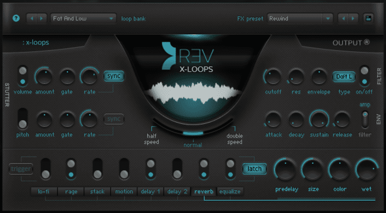 Output REV X-Loops GUI des neuen virtuellen Sample-Instruments