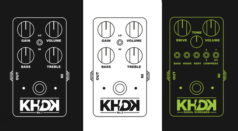 KHDK Electronics No 1 Overdrive No 2 Clean Boost Ghould Screamer Overdrive Pedal Front