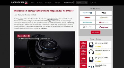 kopfhoerer.de screenshot site homepage