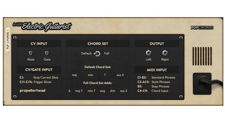 Propellerhead Reason Rack Plugin A-List Electric Guitarist Pop Chords GUI Back