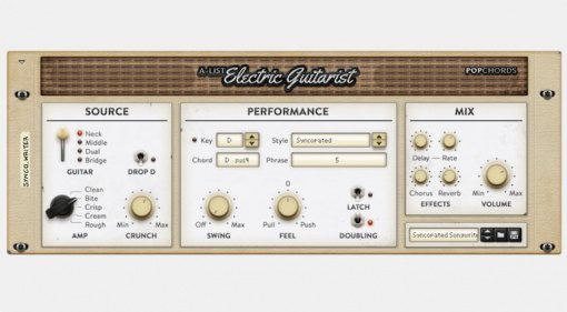 Propellerhead Reason Rack Plugin A-List Electric Guitarist Pop Chords GUI Front