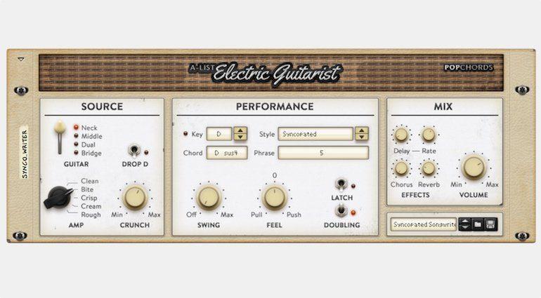 Propellerhead Reason Rack Plugin A-List Electric Guitarist Pop Chords GUI Front
