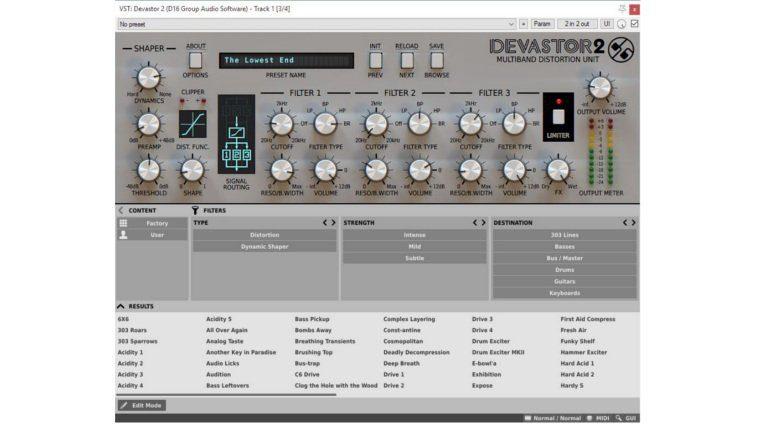 Multiband Distortion Plug-in Devastor 2 nun mit Limiter und