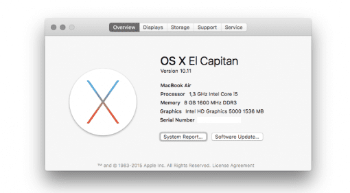 OSX 10.11 El Capitan System Macbook Air