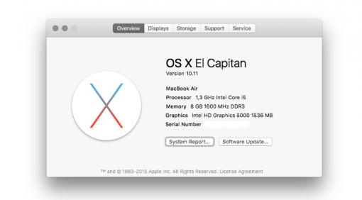 OSX 10.11 El Capitan System Macbook Air