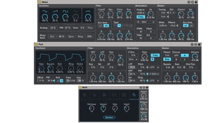 Ableton Live 9.5 Update Max for Live Synthesizer Bass Poli Multi Plug-In