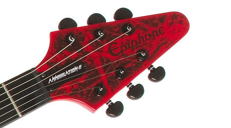 Epiphone Jeff Waters Annihilation-II Signature Flying-V Gitarre HEadstock