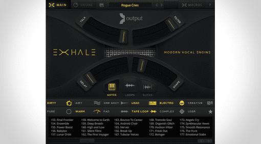Mainpage des Output EXHALE, Sample-basierte Vocal Engine virtuelles Instrument