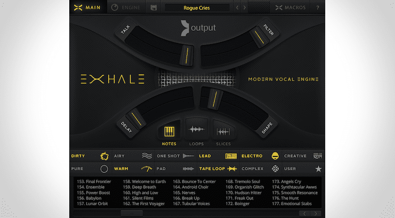 Mainpage des Output EXHALE, Sample-basierte Vocal Engine virtuelles Instrument