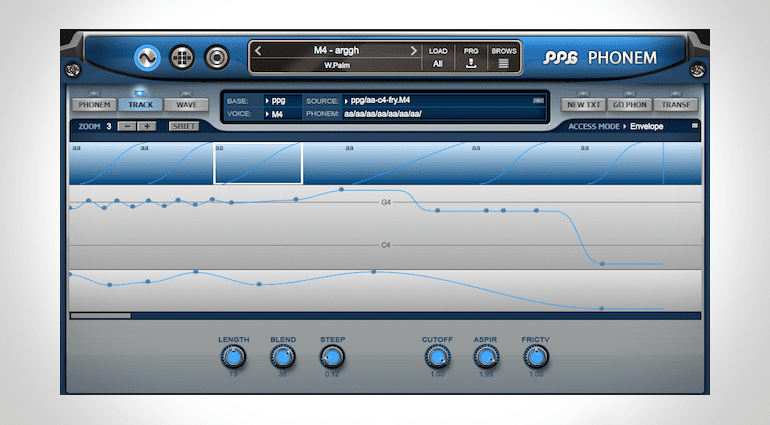 PPG Phonem Vocal-Synthesizer Pitch und Control-Track Page