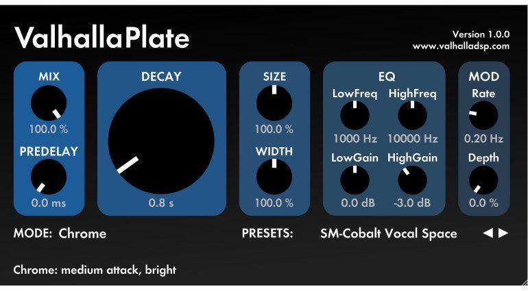 ValhallaDSP Valhalla Plate Reverb Hall Plugin Effekt GUI