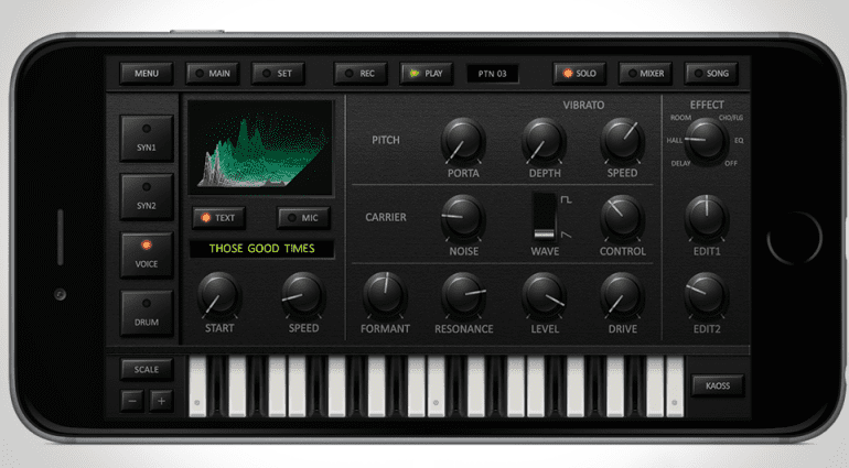 Korg iDS10 iPhone App - Voice Synthesizer Ansicht
