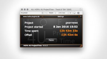 HOFA 4U Project Time Plug-In GUI