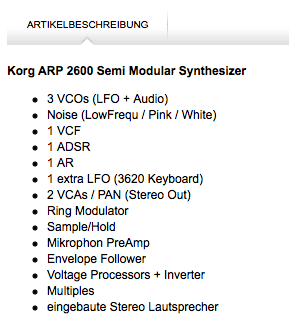audio electric - specs liste