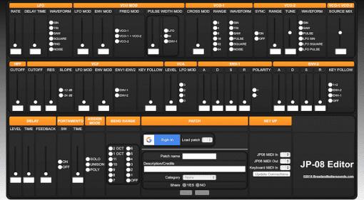 GUI des Patch-Editors für Roland JP-08 Synthesizer