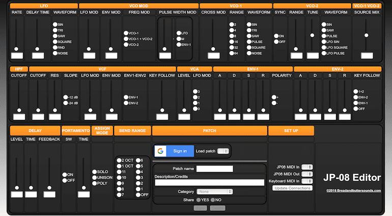 GUI des Patch-Editors für Roland JP-08 Synthesizer