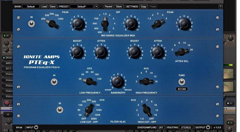 Ignite Amps PTEq-X Pultec Equalizer EQ Plug-In GUI