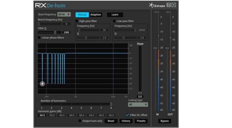 iZotope RX De-Hum Plug-In GUI