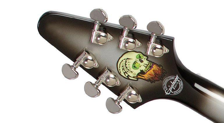 Epiphone Brent Hinds Signature Flying V Headstock Skull Back