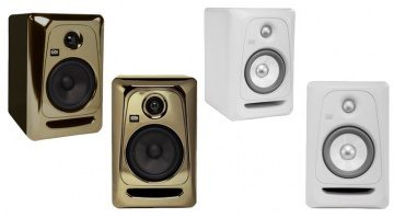 KRK Rokit 5 G3 Black Gold White Noise Front Side Slant Monitorboxen