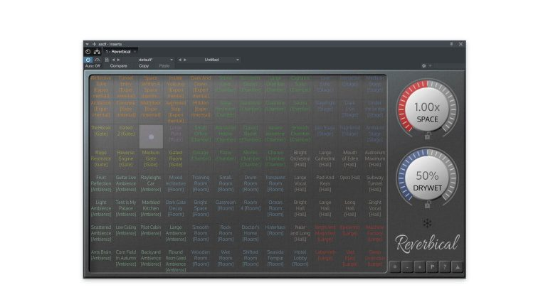 Realtimeonly Reverbical Plug-in Reverb Hall GUI Haupt Ansicht 1