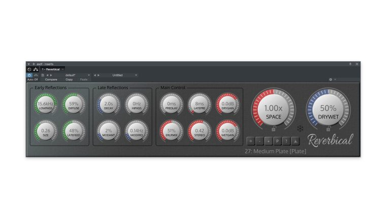 Realtimeonly Reverbical Plug-in Reverb Hall GUI minimal Ansicht 2