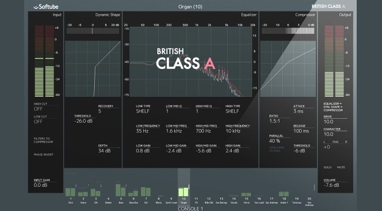 Softube Neve British Class A Console 1 Channelstrip Plug-in GUI