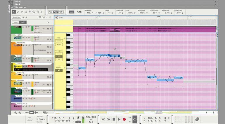 Propellerhead Reason 9 Pitch Edit Mode