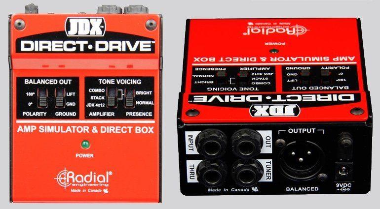 Radial Engineering JDX Direct Drive DI Box Gitarrenamp Simulation Front Back Inputs