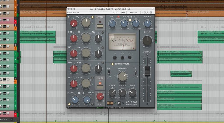TBProAudio CS-3301 Channelstrip Plug-in GUI