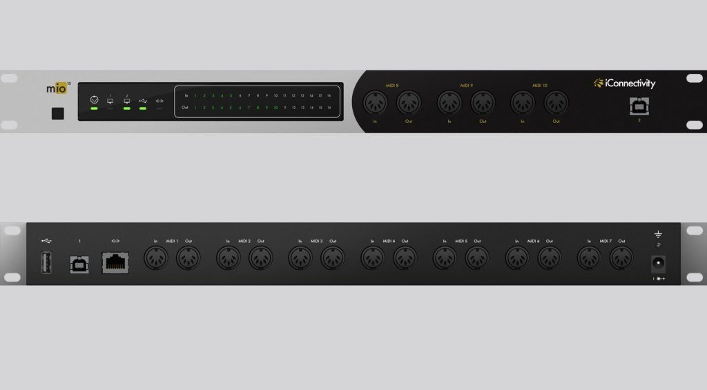 iConnectivity mio10 Rack MIDI Interface Front Back