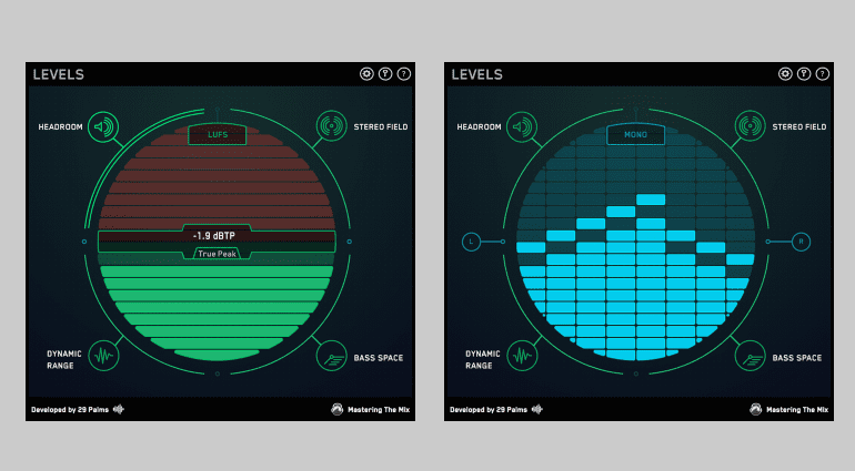 29 Palms Mastering the Mix Levels Plug-in GUI Home Headroom