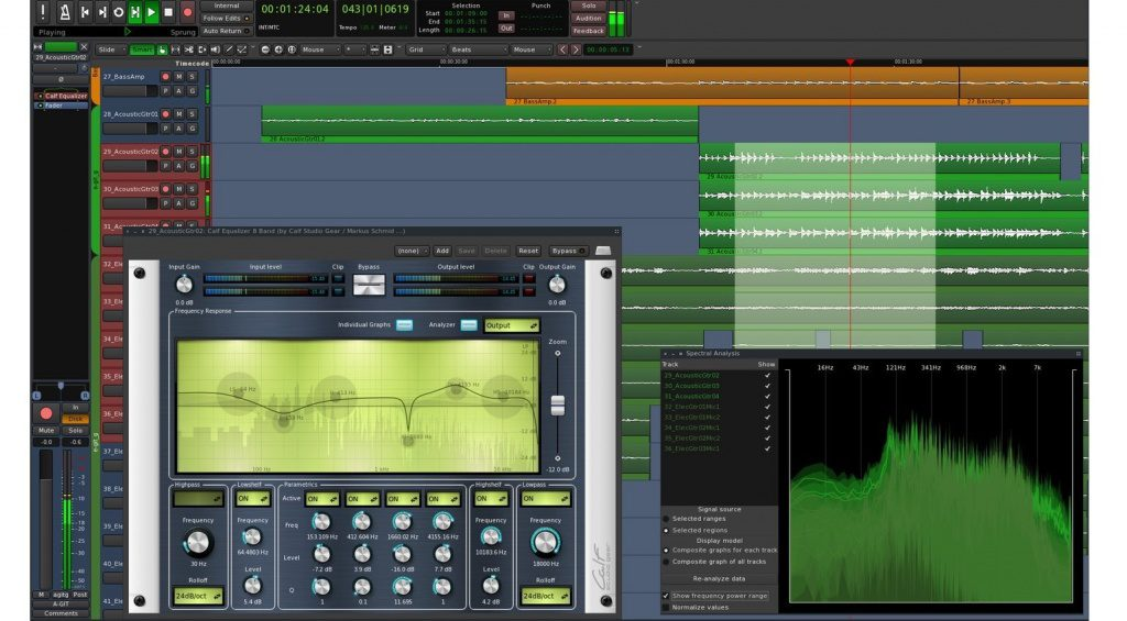 DAW Ardour 4.7 GUI Calf Plug-in Sprectrum Analysis