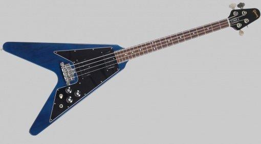 Gibson Flying-V Bass Transparent Blue Ebay Front Grau