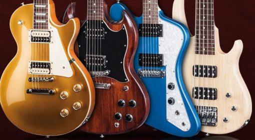 Gibson USA 2017 Lineup Les Paul SG Firebird EB Bass Front