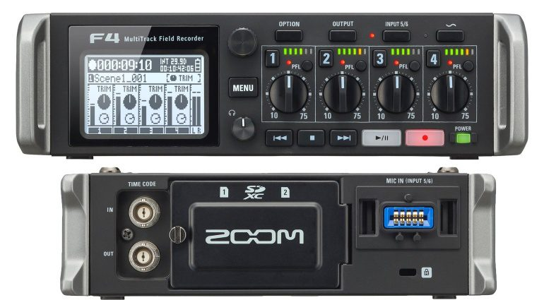 Zoom F4 Field Recorder Front Back