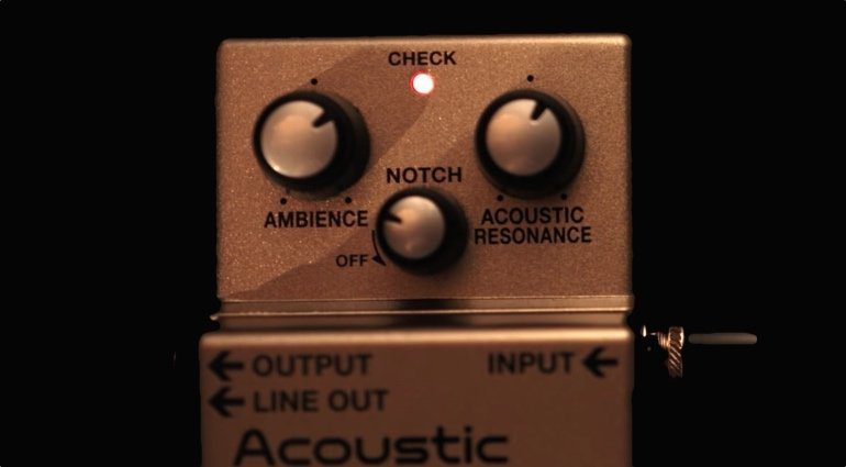 Boss AD-2 Acoustic Preamp Pedal Front Close Up