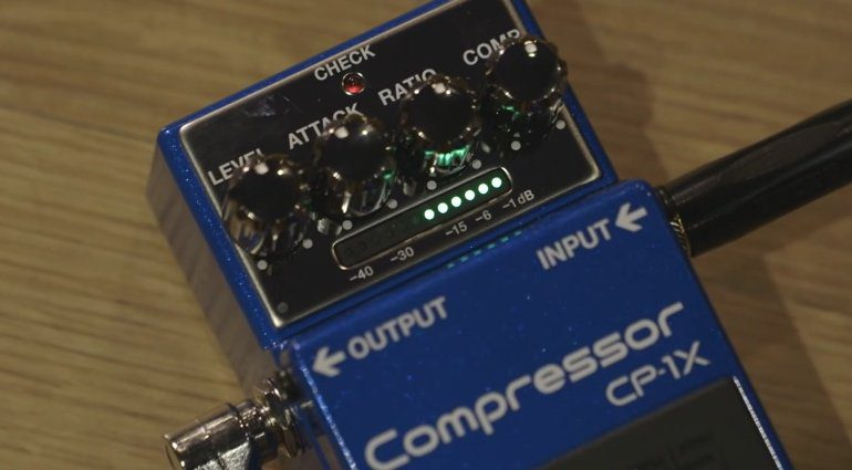 Boss CP-1X Multiband Compressor Pedal Front Close Up