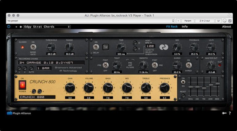 Brainworx bx_rockrack V3 Player Plug-in GUI Marshall Emulation