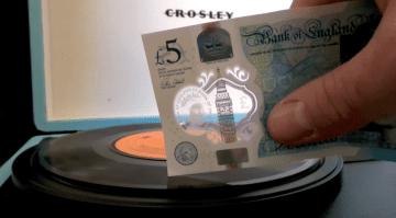 Geldschein 5 Pfund als Plattenspieler Nadel nutzen video screenshot