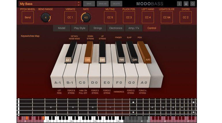 IK Multimedia MODO Bass Plug-in GUI Control Fenster
