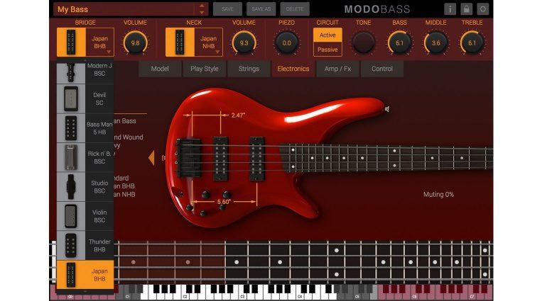 IK Multimedia MODO Bass Plug-in GUI Elektronik Tonabnehmer Fenster