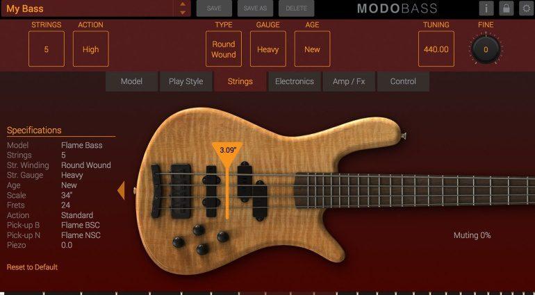 IK Multimedia MODO Bass Plug-in GUI Saiten Fenster