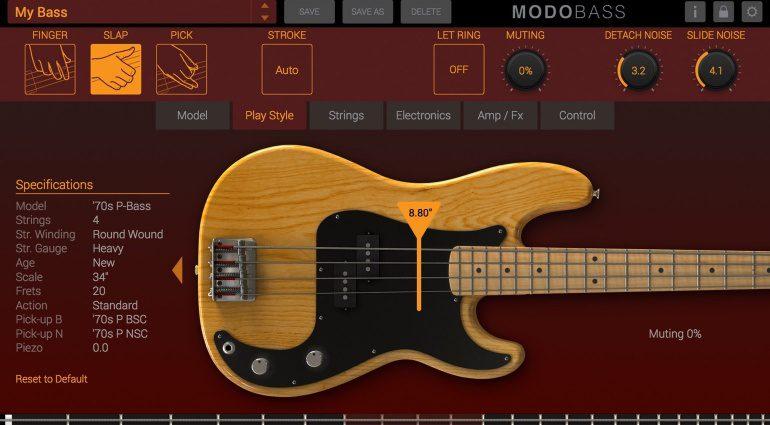 IK Multimedia MODO Bass Plug-in GUI Spiel Style Technik Fenster P Bass
