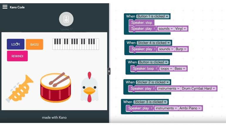 Kano Kickstarter Speaker Programmier Umgebung Code